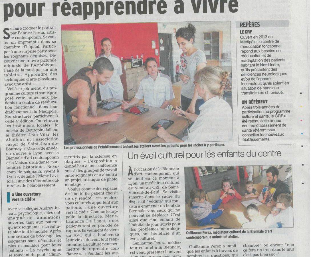 Article de presse sur le projet culture et santé et les actions culturelles du CRF